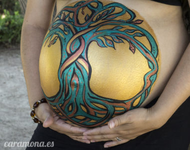Celtic Tree Belly Painting